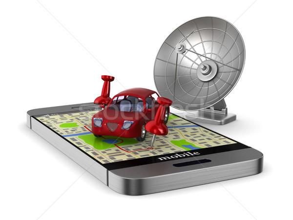 Foto d'archivio: Navigazione · telefono · isolato · illustrazione · 3d · auto · internet