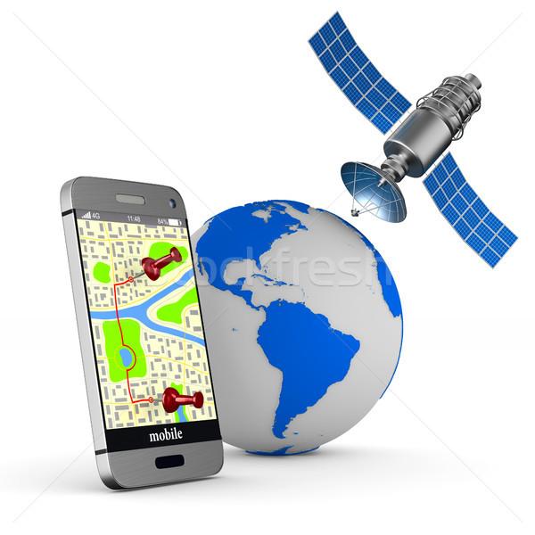 Foto d'archivio: Navigazione · telefono · isolato · illustrazione · 3d · internet · tecnologia