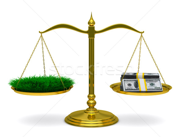 Grass and money on scales. Isolated 3D image Stock photo © ISerg