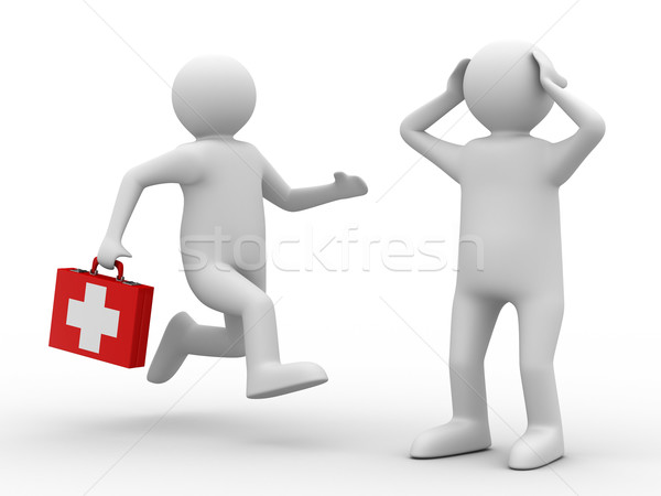 Stock photo: doctor and patient on white background. Isolated 3D image