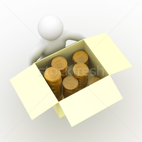 loader hold box with cash. Isolated 3D image Stock photo © ISerg