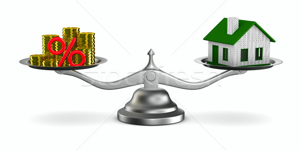 House and money on scales. Isolated 3D image Stock photo © ISerg