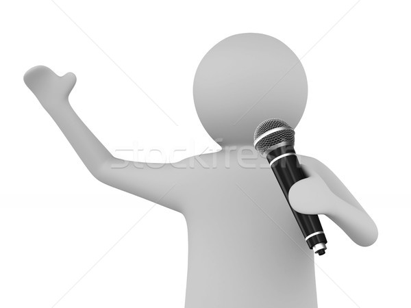 man speaks with microphone on white background. Isolated 3D illu Stock photo © ISerg