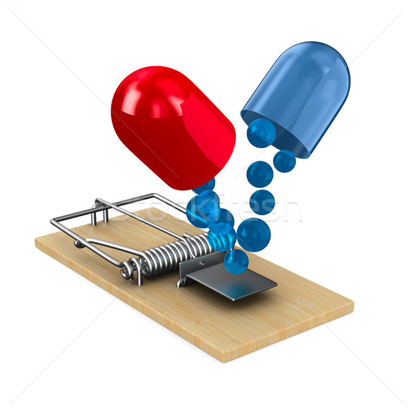 Stock photo: medicaments in mousetrap. Isolated 3D illustration