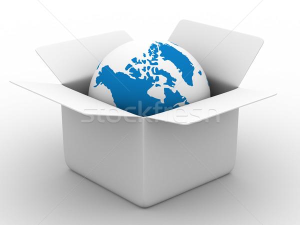 Stok fotoğraf: Açmak · kutu · dünya · beyaz · yalıtılmış · 3D