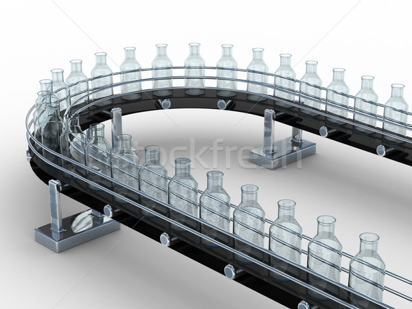 tape conveyor with bottles on white background. Isolated 3D image Stock photo © ISerg