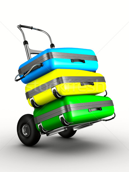 hand truck with bags on white background. Isolated 3D image Stock photo © ISerg
