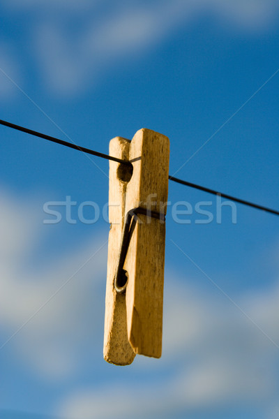 Wooden clothespin on a wire Stock photo © ISerg
