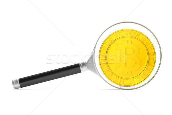 coin bitcoin and magnifier on white background. Isolated 3D illu Stock photo © ISerg