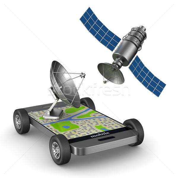 Navigáció telefon izolált 3d illusztráció autó internet Stock fotó © ISerg