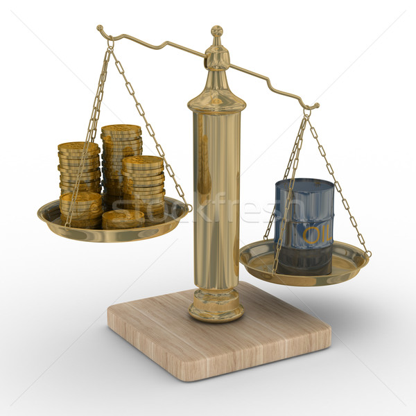 Stock photo: Oil and money for scales. Isolated 3D image.