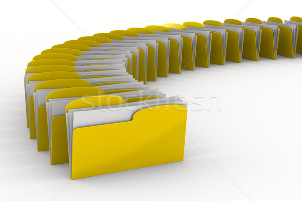 Zdjęcia stock: żółty · komputera · folderze · biały · odizolowany · 3D