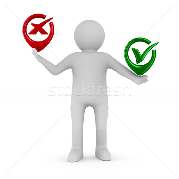 Man with symbols yes and No. Isolated 3D image  Stock photo © ISerg