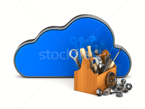 Cloud and toolbox on white background. Isolated 3D illustration Stock photo © ISerg