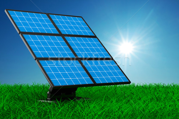 solar battery on grass. Isolated 3d image Stock photo © ISerg