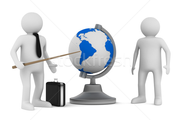 man and globe on white background. Isolated 3D image Stock photo © ISerg