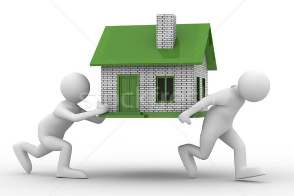 Due uomini casa isolato 3D immagine Foto d'archivio © ISerg