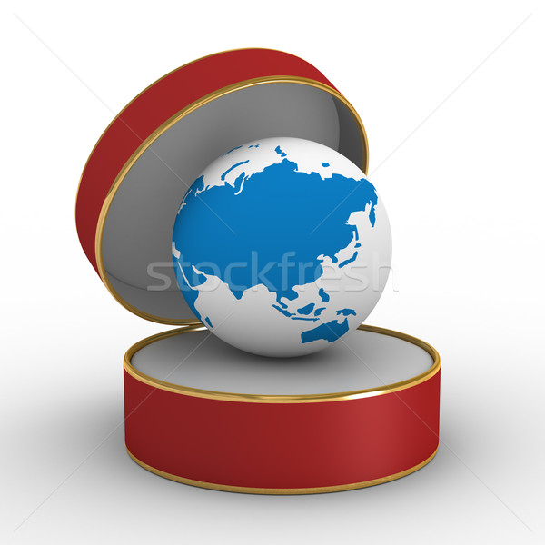Stock photo: Red gift box with globe. Isolated 3D image