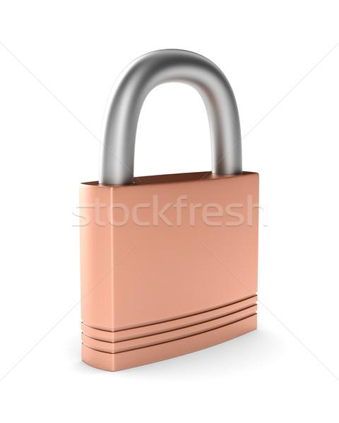 Acciaio chiuso lock bianco isolato 3D Foto d'archivio © ISerg