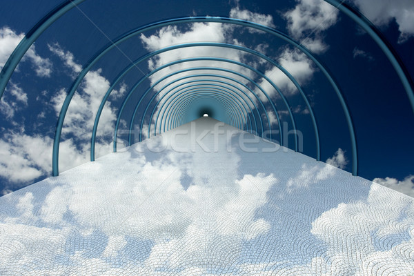 tunnel in clouds. 3D image. Stock photo © ISerg