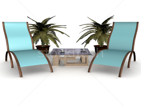 Two deckchairs on a white background. 3D image. Stock photo © ISerg