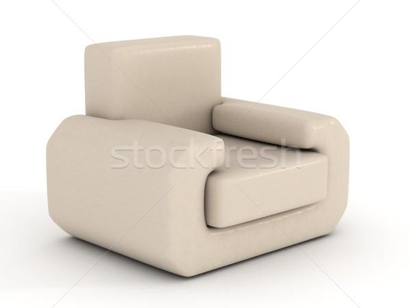Foto stock: Couro · poltrona · branco · 3D · imagem · projeto