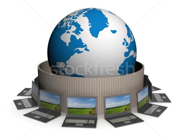 ストックフォト: 保護された · グローバル · ネットワーク · インターネット · 3D · 画像