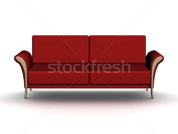 Red leather sofa. An interior. 3D image. Stock photo © ISerg