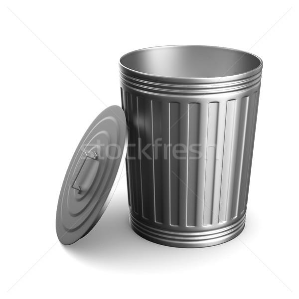 Garbage basket bianco isolato illustrazione 3d acciaio Foto d'archivio © ISerg