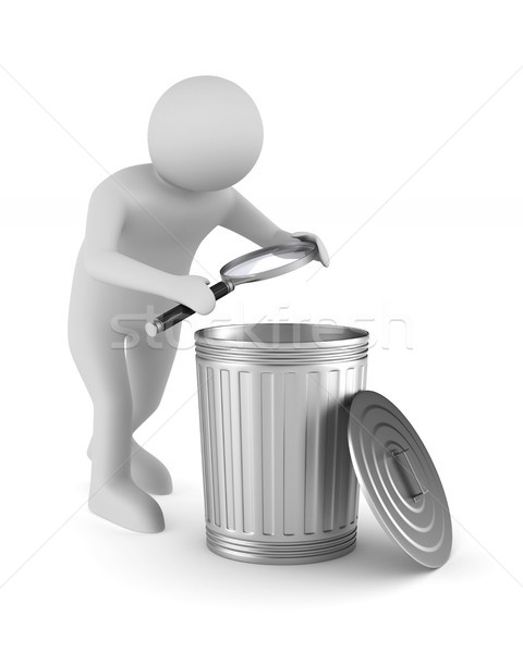 Man with magnifier and garbage basket on white background. Isola Stock photo © ISerg