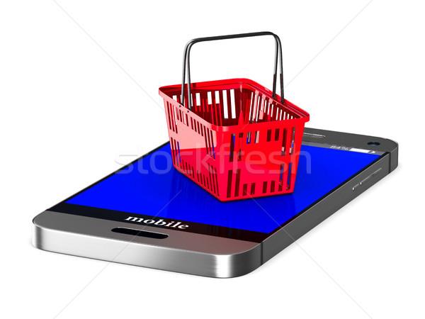 Foto stock: Teléfono · rojo · cesta · de · la · compra · blanco · aislado · 3D