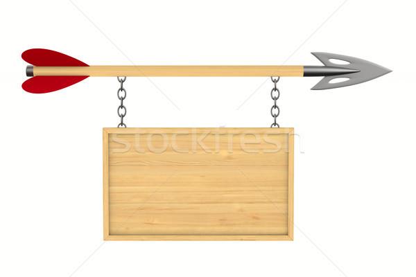Pijl billboard witte geïsoleerd 3D 3d illustration Stockfoto © ISerg