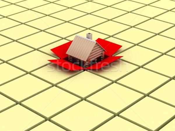 Foto stock: Pequeño · casa · cuadro · 3D · imagen