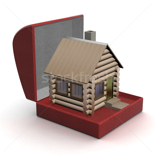 Foto stock: Pequeño · casa · caja · de · regalo · 3D · imagen