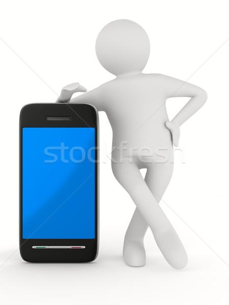 Adam telefon beyaz yalıtılmış 3D görüntü Stok fotoğraf © ISerg