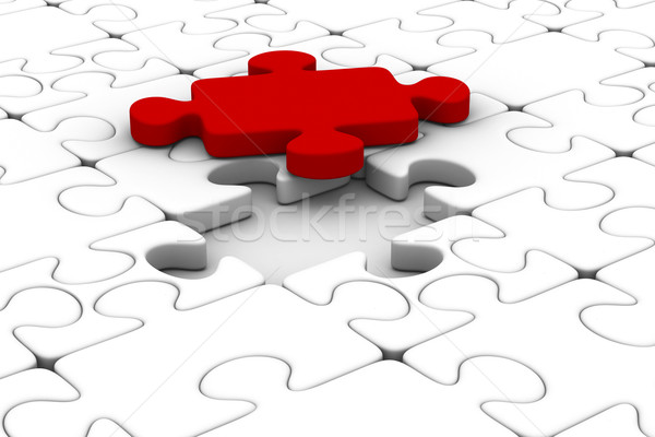 Blue puzzle and one red. Isolated 3D image Stock photo © ISerg