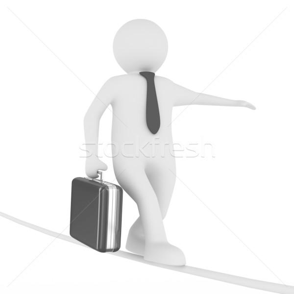 man balances on rope. Isolated 3D image Stock photo © ISerg