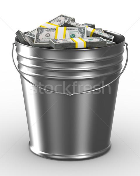 Stock photo: Bucket with money on white background. Isolated 3D image