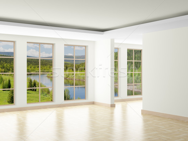 Stock photo: Empty room. Landscape behind window. 3D image