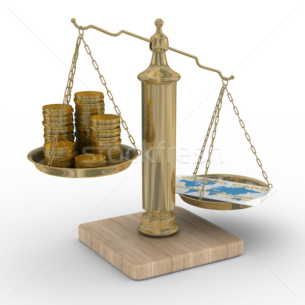 Credit card and coins on scales. Isolated 3D image Stock photo © ISerg