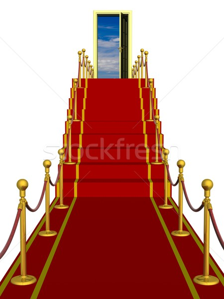 Red carpet path on a ladder with an open door against clouds Stock photo © ISerg