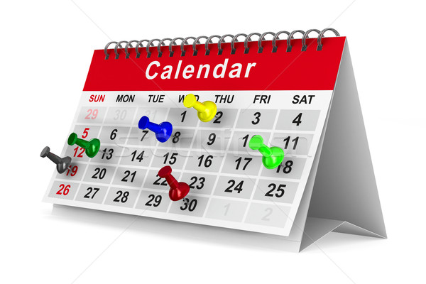 Calendar with pins on white background. Isolated 3D image Stock photo © ISerg