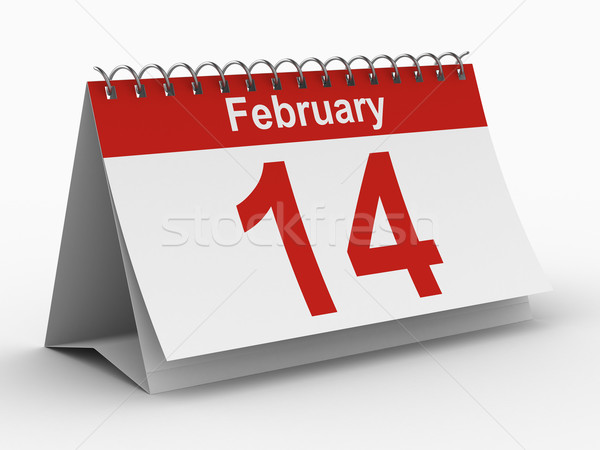 14 february calendar on white background. Isolated 3D image Stock photo © ISerg