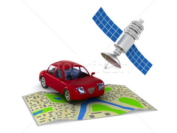 Navigatie witte geïsoleerd 3d illustration papier auto Stockfoto © ISerg