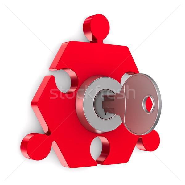 Puzzle with key on white background. Isolated 3D illustration Stock photo © ISerg