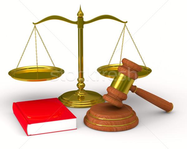 Foto stock: Escalas · justicia · martillo · blanco · aislado · 3D