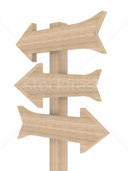 Stock photo: Wooden directional marker on a white background. Isolated 3D image