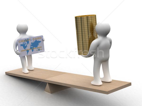 Foto stock: Pessoas · numerário · cartão · de · crédito · pesos · 3D · imagem