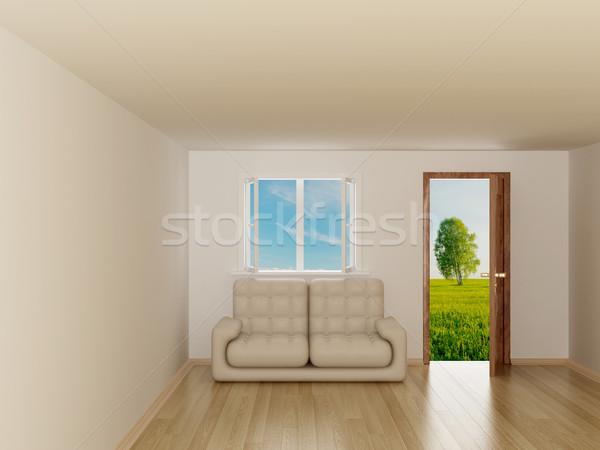 Landscape behind the open door and window. 3D image Stock photo © ISerg