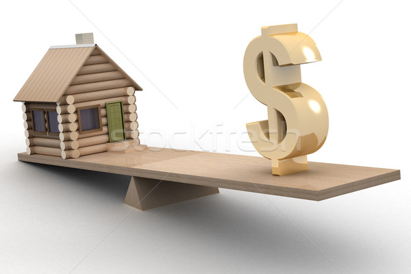 Stock photo: house and dollar on scales. 3D image.